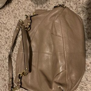 Authentic coach purse leather dark beige